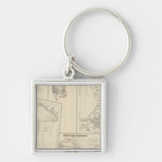 Carroll, Coos Co Silver-Colored Square Keychain