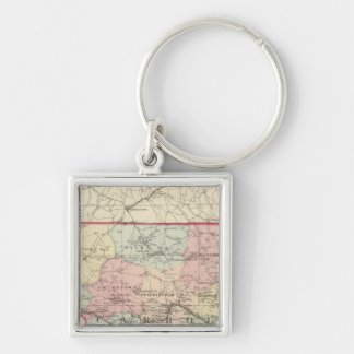 Carroll Silver-Colored Square Keychain