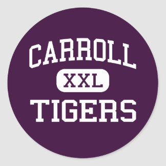Carroll - tigres - alto - Corpus Christi Tejas Pegatina Redonda