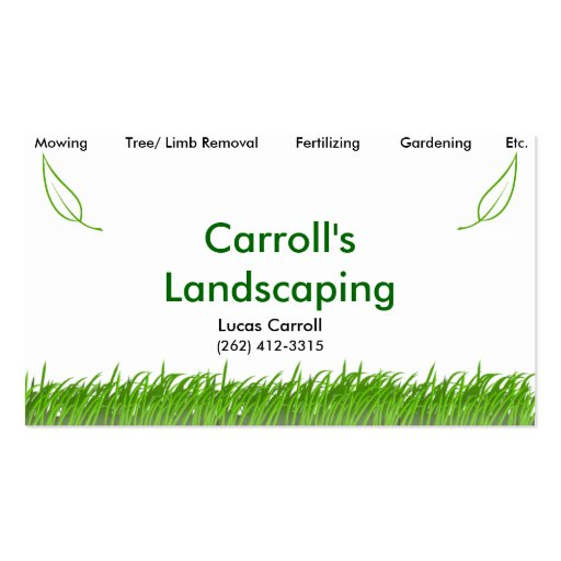 Carroll s Landscaping Business Card