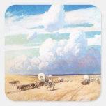 Carros cubiertos por Wyeth, vaqueros occidentales Pegatina Cuadrada