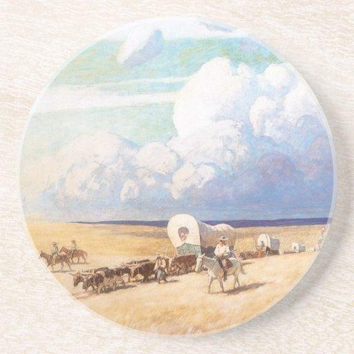 Carros cubiertos por Wyeth, vaqueros occidentales Posavaso Para Bebida