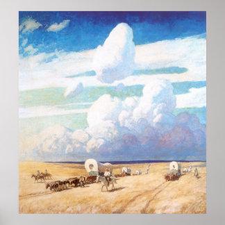 Carros cubiertos por Wyeth, vaqueros occidentales Póster