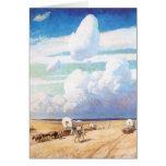 Carros cubiertos por Wyeth, vaqueros occidentales Tarjetón