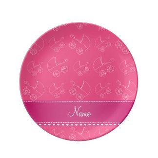 Carros de bebé blancos rosados personalizados plato de cerámica