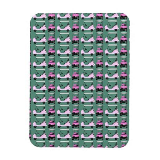 Carros del golf de las mujeres rosa y blanco iman flexible