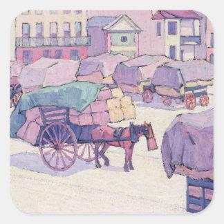 Carros del heno, mercado del Cumberland (aceite en Colcomanias Cuadradas