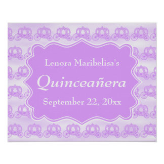 Carros púrpuras en colores pastel Quinceanera Posters