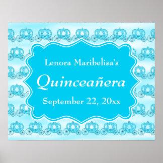Carros Quinceanera de las azules turquesas Poster
