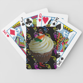 Carrot Cake Cupcake with Confetti Bicycle Playing Cards