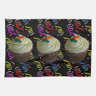 Carrot Cake Cupcake with Confetti Hand Towel