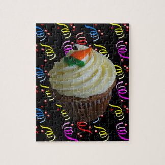 Carrot Cake Cupcake with Confetti Jigsaw Puzzle