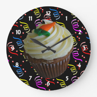 Carrot Cake Cupcake with Confetti Large Clock