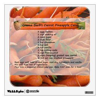 Carrot Cake Recipe Wall Decal