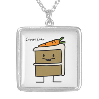 Carrot Cake slice bunny teeth icing dessert Silver Plated Necklace