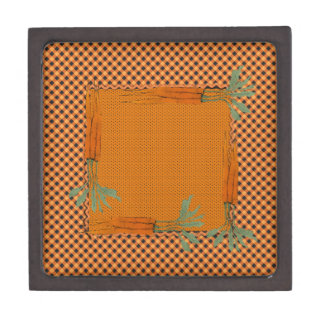 Carrot Frame, Gingham Pattern, Dots Gift Box