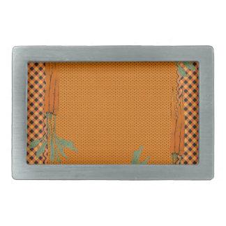 Carrot Frame, Gingham Pattern, Dots Rectangular Belt Buckle