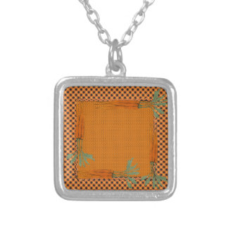 Carrot Frame, Gingham Pattern, Dots Silver Plated Necklace
