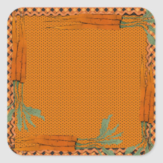Carrot Frame, Gingham Pattern, Dots Square Sticker