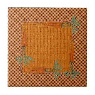 Carrot Frame, Gingham Pattern, Dots Tile