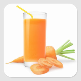 Carrot juice in a glass square sticker