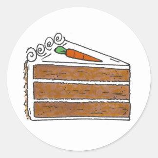 Carrot Layer Cake Slice Dessert Baking Foodie Classic Round Sticker