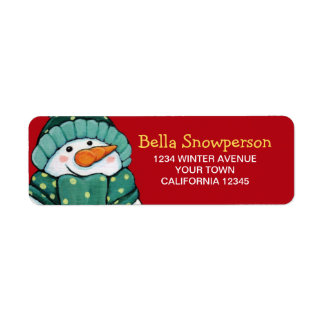 Carrot Nose Snowman in Green Illustration Label