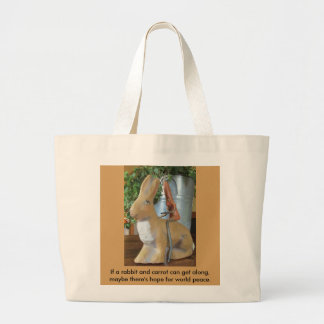Carrot & Rabbit = Peace for the World? Large Tote Bag