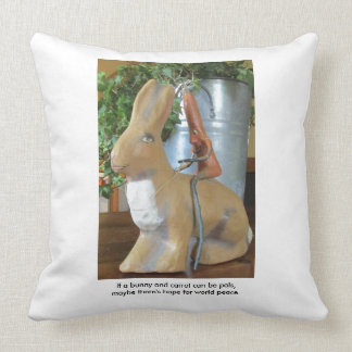 Carrot & Rabbit = Peace for the World? Throw Pillow