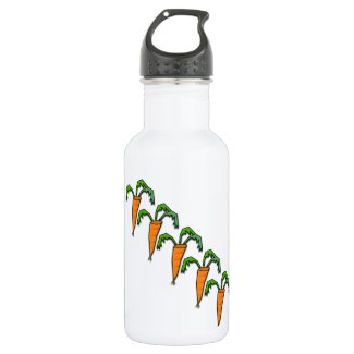 Carrots all Lined up Peach Color 18oz Water Bottle