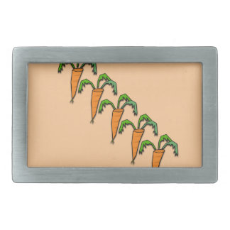 Carrots all Lined up Peach Color Rectangular Belt Buckle