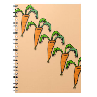 Carrots all Lined up Peach Color Spiral Notebooks