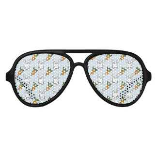 Carrots and Bunny Pattern On A Blue Background Aviator Sunglasses