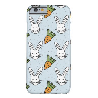 Carrots and Bunny Pattern On A Blue Background Barely There iPhone 6 Case