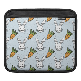 Carrots and Bunny Pattern On A Blue Background iPad Sleeves