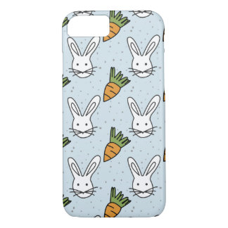Carrots and Bunny Pattern On A Blue Background iPhone 8/7 Case