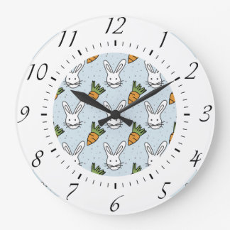 Carrots and Bunny Pattern On A Blue Background Large Clock