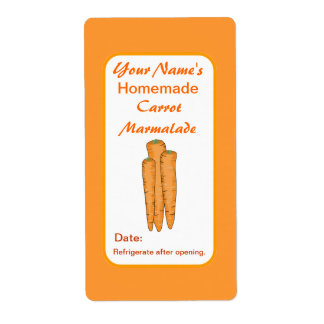 Carrots Personalized Preserve Labels Canning Jar