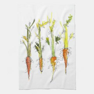 Carrots Vegetable Garden Illustration Kitchen Art Kitchen Towel