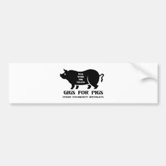 Carruajes para los cerdos etiqueta de parachoque