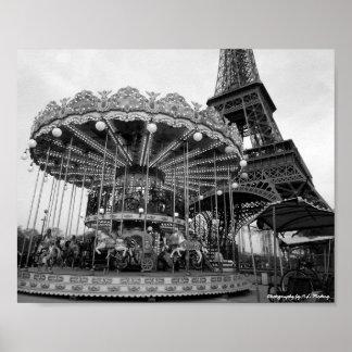Carrusel B&W de París Póster