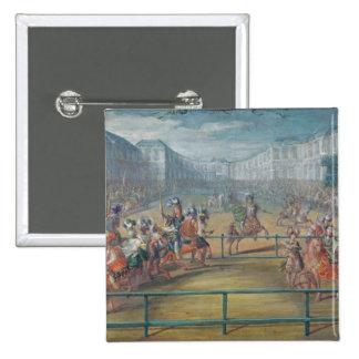 Carrusel de los Amazonas en 1682 Pin Cuadrado