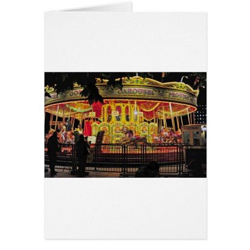 carrusel en thames en la noche tarjeta de felicitación