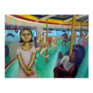 Carrusel - pintura original de Lora Shelley Tarjeta Postal
