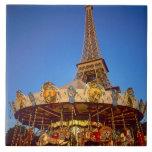 Carrusel, torre Eiffel, París, Francia Azulejo Cuadrado Grande