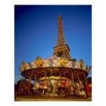 Carrusel, torre Eiffel, París, Francia Póster