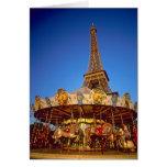 Carrusel, torre Eiffel, París, Francia Tarjeta De Felicitación