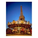 Carrusel, torre Eiffel, París, Francia Tarjeta Postal