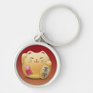 carry key maneki-neko Japanese Chat Silver-Colored Round Keychain