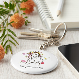Carry-key Promise in flowers Basic Round Button Keychain
